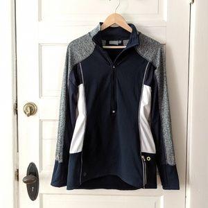 Athleta blue gray quarter zip jacket medium